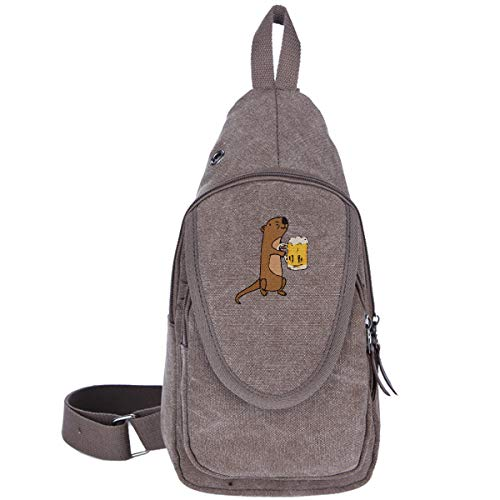 Sea Otter Drinking Beer Canvas Chest Pack, Sling Bag Shoulder Bag Crossbody Bags Multipurpose Daypacks For Hiking Cycling And ()