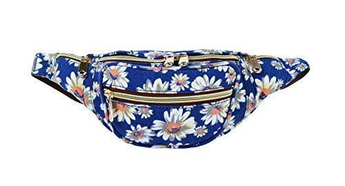 Haute For Diva's New Womens Holiday Canvas Denim Aztec Flower Floral Polka Dot Fanny Pack Travel Bum Bags Grunge Navy Blue Daisy Flower