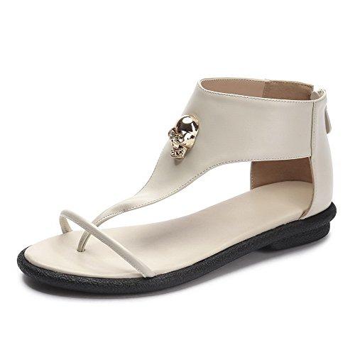 AmoonyFashion Womens Zipper Split Toe Low Heels Pu Solid Sandals Beige RQmTo5