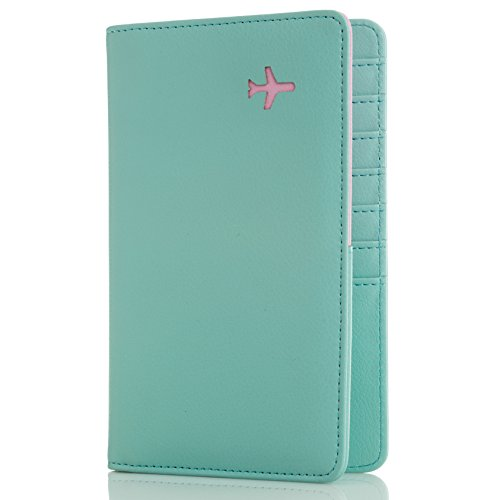 All in One Travel Wallet - 2 Passport Holder + Gift Box / cash tickets cards pen (Mint Sky)