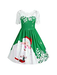 HEFEITONG Women's Vintage Lace Short Sleeve Print Christmas Party Swing Dress