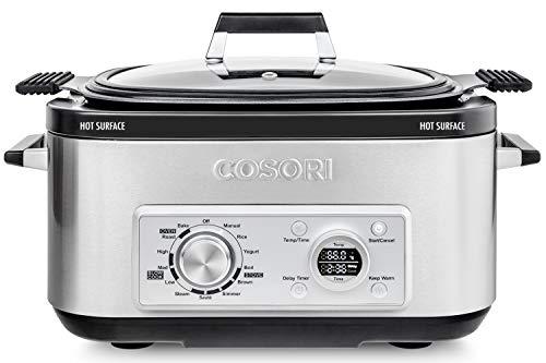 COSORI Slow Cooker 11-in-1 Programmable Multi-Cooker Pot 6-Quart,Delay Timer&Auto-iQ Recipes,Rice Cooker,Brown,Saute,Boil,Steamer,Yogurt Maker,Auto-Warmer,86F-400F,UL Listed/FDA Compliant