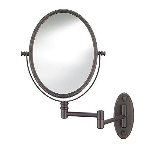 Conair Beaded Oval Wall Mount Mirror in Oil Rubbed Bronze with 1X / 7X Magnification by Conair