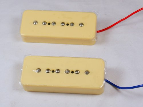 (1set P-90 Soapbar Single Coil Pickups Bridge & Neck Cream)