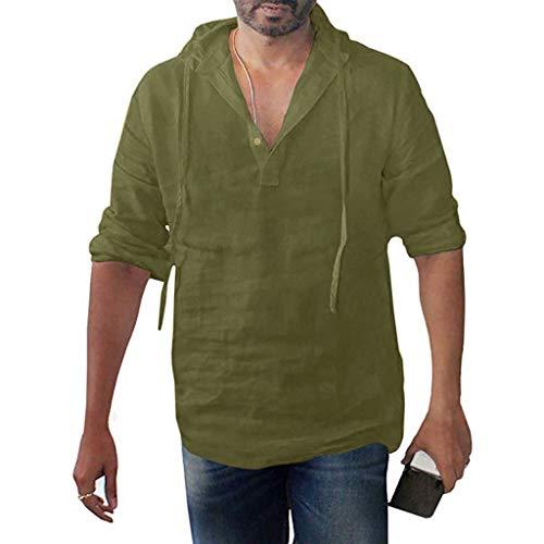 Men's Hooded Shirts Summer Linen Henley Pullover Casual Button Lightweight Long Sleeve Tops Army Green