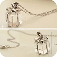 Transparent Gift Box Bow Chain Necklace Sweater Pendant Silver Jewelry Gift