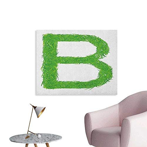 Anzhutwelve Letter B Wallpaper Kids Baby Boys Children Capital B Name Fresh Growth Environment Ecology Concept The Office Poster Green White W48 xL32 ()