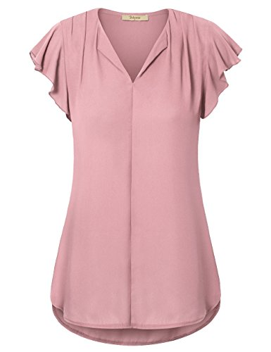 Bebonnie Tunic Shirts Short Sleeve, Womens Flutter Sleeve V Neck Curved Hemline Blouse Top Dark Pink XXL