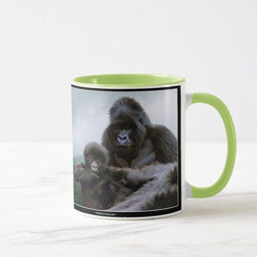 Baby Mountain Gorilla (Zazzle Great Apes Mountain Gorilla & Baby Gorilla Coffee Mug, Lime Combo Mug 11 oz)