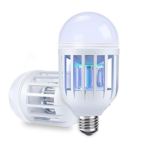 Two-pack Bug Zapper Light Bulbs, Mosquito Killer Lamp, Electronic Insect & Fly Killer - Built in Insect Trap, Fits in 110V E26/E27 Light Bulb Socket for Indoor Outdoor Porch Patio (Bug Zapper Lamps)