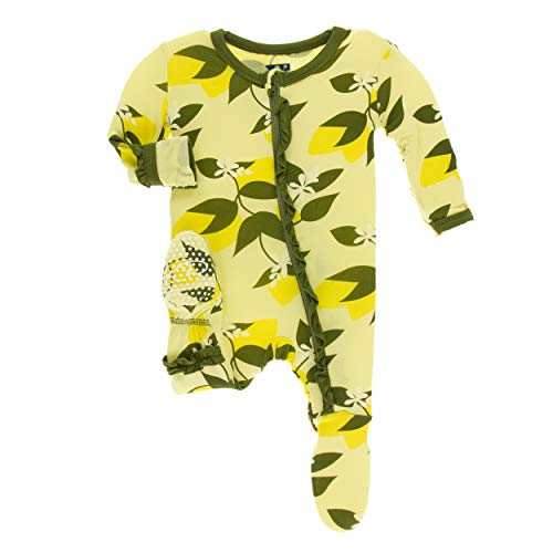 Kickee Pants Little Girls Print Layette Classic Ruffle Footie with Zipper - Lime Blossom Lemon Tree, 0-3 Months