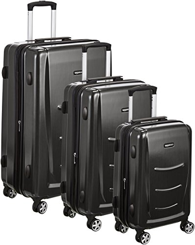 Lined Set Luggage - AmazonBasics 3 Piece Hard Shell Luggage Spinner Suitcase Set - Slate Grey