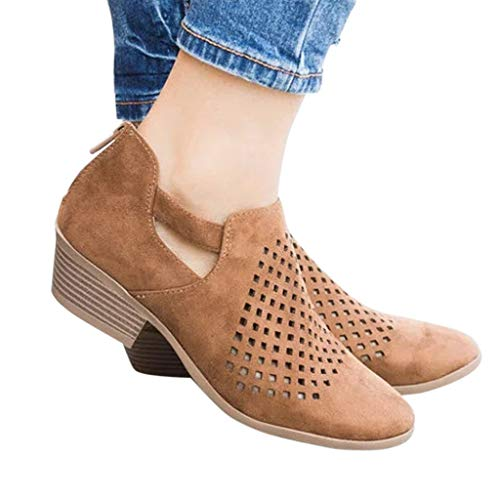 COPPEN Women Boots Spring Ankle Hollow Out Leather Shoes