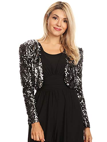 Anna-Kaci Womens Shiny Sequin Long Sleeve Glitter Cropped Blazer Bolero Shrug, Black/Silver, Medium ()