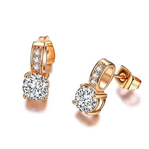 Chryssa Youree 6mm Round Crystal Zirconia Asscher-Cut Antique Solitaire Drop Stud Wedding Bridal Earrings for Women Everyday Wear (ED-90) (Rose gold) (Stud Asscher)