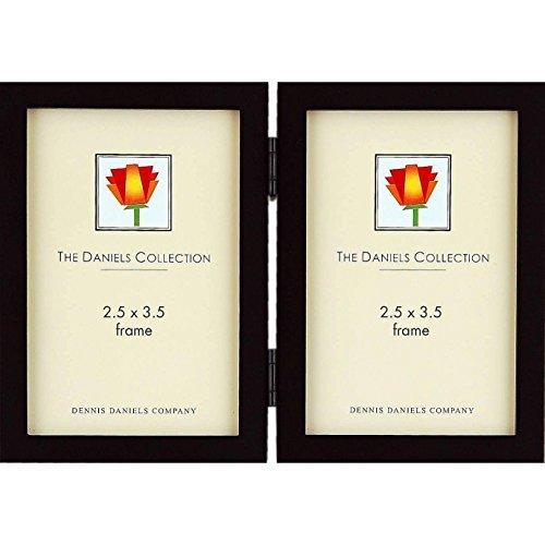 The Original DANIELS W41 Square Corner GALLERY WOODS ebony-black stain hinged 2.50x3.50 double by Dennis Daniels® - 2.5x3.5
