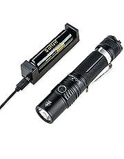 Sofirn SP32A V2.0 Taschenlampe, Hohes Lumen mit einem 18650 Akku und Aufladegerät, CREE XPL2 LED 1300 Lumen, zwei Licht Gruppen, Perfekte EDC Taschenlampe für Camping, Wandern, Bootfahren, Gassi gehen