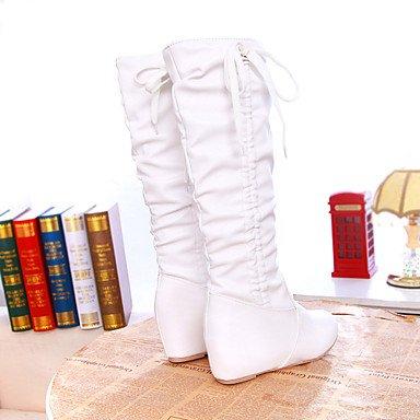 Botas de Mujer Otoño Invierno Comfort polipiel vestir casual Tacón Wedge Lace-up caminando White