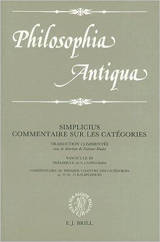 Simplicius: Commentaire Sur Les Categories Traduction Commentee Fascicule III Commentaire Au Premier Chapitre Des Categories