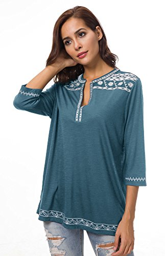 Urban Donna Blusa Camicia Shirt Tops 3 Ricamato T Blu 4 Casual GoCo Inchiostro a Maniche Boho rBqrgO5