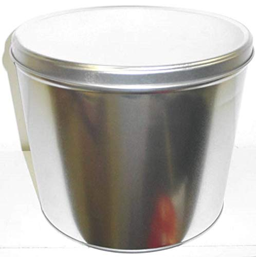 Gourmet Popcorn Tin w 2 Gallons Caramel Cheddar Mix Popcorn Silver