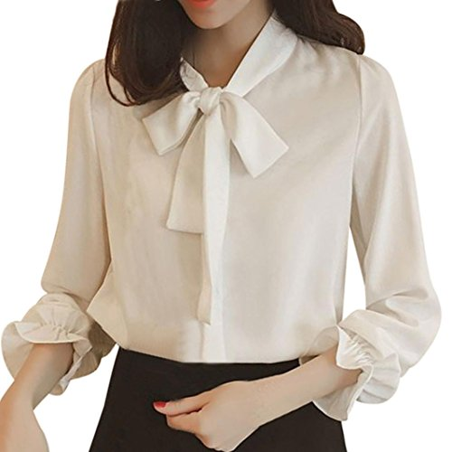 [S-3XL] レディース Tシャツ ボウタイ シフォン シャツ 長袖 トップス おしゃれ ゆったり カジュアル 人気 高品質 快適 薄手 ホット製品 通勤 通学