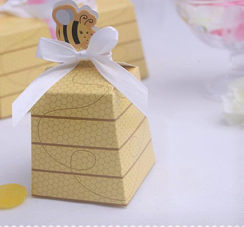 50pcs Sweet Bee Candy Box Wedding Gift Boxes Party Decor Baby Diy Flower Favor