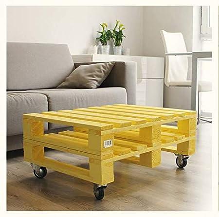 Mesa de palets de madera pintada en color Amarillo, Perfecta como ...
