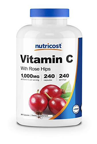 Nutricost Vitamin C with Rose Hips 1025mg, 240 Capsules – Vitamin C 1,000mg, Rose Hips 25mg, Premium, Non-GMO, Gluten…