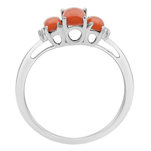 Jewelili femme  9carats (375/1000)  Or blanc|#Gold Emeraude   Orange Andere Topas FASHIONRING