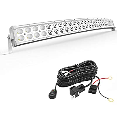 LED Light Bar YITAMOTOR 32 inches White Curved Light Bar 180W Spot Flood Combo Off Road Lights with 12V Wiring Harness Compatible for Pickup, Jeep, Car, Truck, Boat, ATV, Motorcycle: Automotive