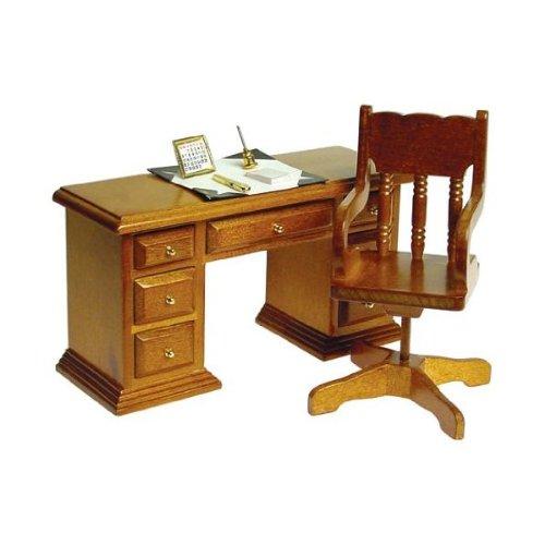 Dollhouse Miniature Study Office Furniture Walnut Wooden Kneehole Library Desk - Dollhouse Miniatures Library