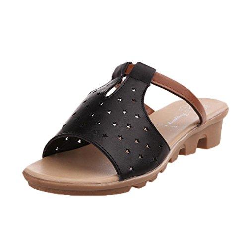 Winwintom Sandalias de mujer de verano Moda Mujer Solid Beach diapositivas Zapatillas Negro