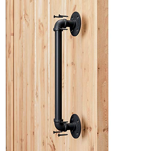 "SMARTSTANDARD 15"" Pipe Barn Door Handle Black Rustic Industrial Style Handle Bar Pull for Gate Cabinet Shed Door ()"