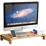 Bamboo iMac Monitor Stand Riser with Storage Organizer Laptop Cellphone TV Printer Stand Desktop Container For Office computer stand