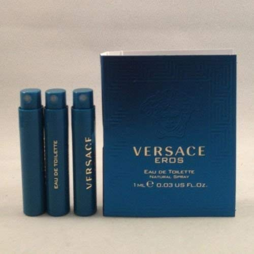 3 Versace Eros EDT Travel Sample Men Spray Vial Lot .03 Oz/1 Ml Each Lot