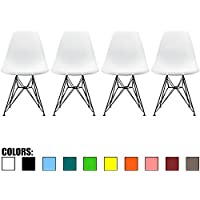 2xhome - Set of Four (4) - White - Eames Style Side Chair Black Eiffel Base Dining Room Chair - Lounge Chair No Arm Arms Armless Less Chairs Seats Black Wire Legs
