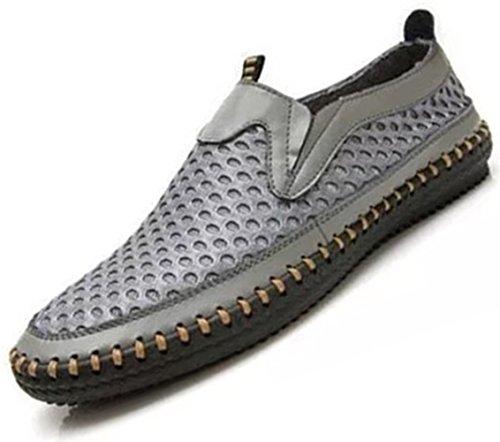 da pelle on slip Mesh scarpe uomo vera scarpe casual estive Bebete5858 moda traspirante mesh in scarpe confortevole morbido estate Grigio uomo marchio 7qBgxIPv