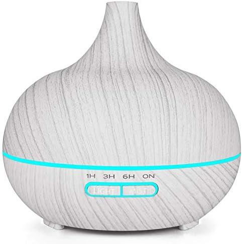 Naliovker 400 ML DHuile /éLectrique Ultrasonique de Diffuseur DHuile DArome DHumidificateur dair Blanc de Grain de Bois 7 Couleurs Une Men/é des Lumi/èRes pour la Maison