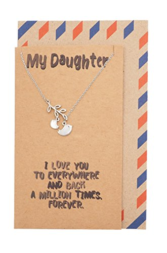 Quan Jewelry My Daughter Necklace, Birds Pendant Charm, Love Inspirational Quotes Jewelry, Mother Daughter Gifts, Handmade with Quote Card