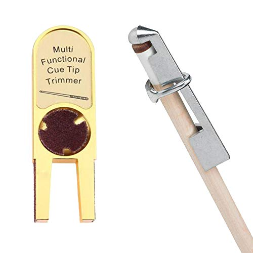 Gimiton Billiards Pool Cue Tip Shaper Tool, Pool Cue Tip Scuffer Burnisher Cue Tip Trimmers Tapper with International Aluminum Pool Cue Clamp (Tools Pool Cue Accessories)