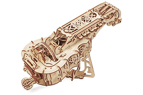 UGears Hurdy-Gurdy 3D Puzzle, Wooden Musical Model, Brain Teaser, DIY Craft Set - Valentine's Gift for Her and Him