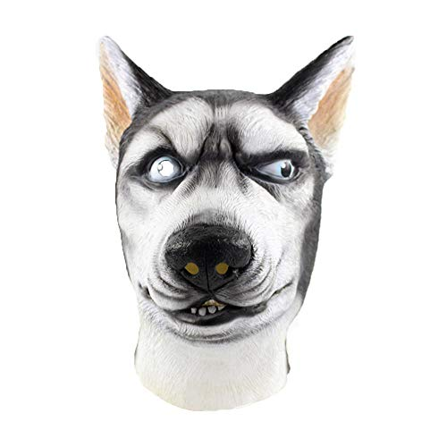 Blackcat Halloween Mask-Siberian Husky Mask Wolf Dog Latex Animal Fancy Dress Canine Halloween Masks (White) -