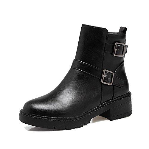 AgeeMi Shoes Damen Winter Niedriger Absatz Schnüren Rund Schließen Zehe Stiefel Schwarz