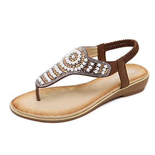 Flat Flip-Flop Sandals for Women,Bohemia Rhinestone Beaded T-Strap Beach Gladiator Shoes -