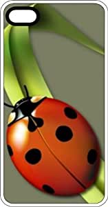taoyix diy Lady Bug Relaxing On A Blade Of Grass White Rubber Case for Apple iPhone 5 or iPhone 5s
