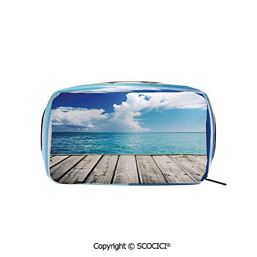 Printed Makeup Bag Organizer toiletry bags Image of Caribbean Sea from Wood Deck with Cloud Sky Landscape in Tropics Print Rectangle Cosmetic Bags for Girls Ladies