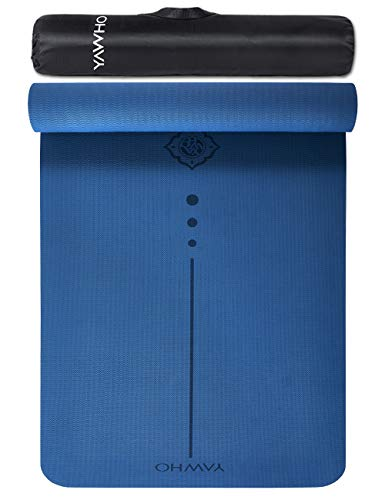 YAWHO Yoga Mat Fitness Mat Specifications 72'' x 26'' Thickness 1/4-Inch Eco Friendly Material SGS Certified Ingredients TPE Extra Large Non-Slip Exercise Mat with Carry Strap and Carry Bag (Blue)