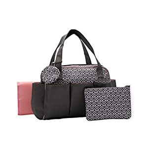 Baby Boom 4 Piece Baby Diaper Bag Set for Women - Large Tote/Duffle Style Diaper Bag - Wipeable, Roomy, Zip Closure - Dark Grey and Pink