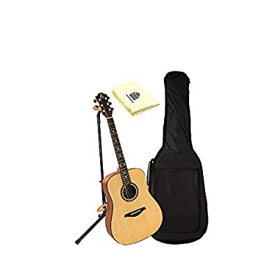 Hohner AS305-NS A+ Dreadnought Guitar in Natural Satin With Padded Gig Bag, Stand, and Polishing Cloth